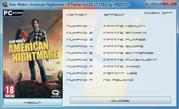 Alan Wake's American Nightmare v1.03.17.1781 +9 Trainer [GRiZZLY]