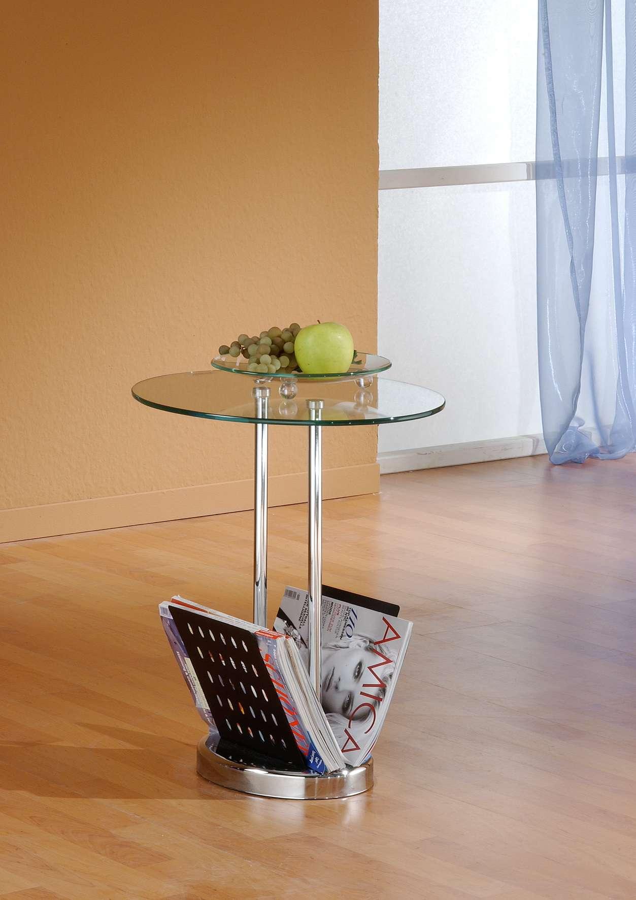 Zeitungstisch beistelltisch glas rund chrom tisch rund for Beistelltisch glas chrom rund