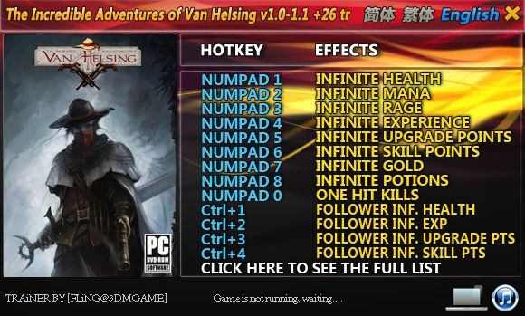 The Incredible Adventures of Van Helsing 1.0-1.1 +26 Trainer [FliNG]
